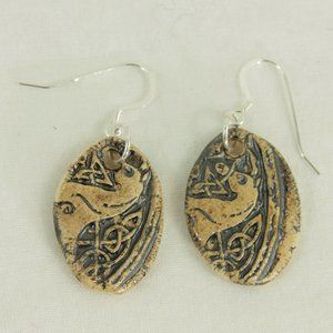 New Scottish Celtic Pottery Earrings Silver Horse
